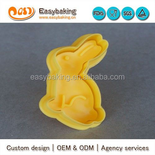 CP-0313 Customized rabbit Stamp Plastic Cookie Cutter