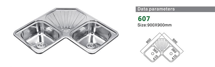 Modern Design Stainless Steel double bowl corner kitchen sink