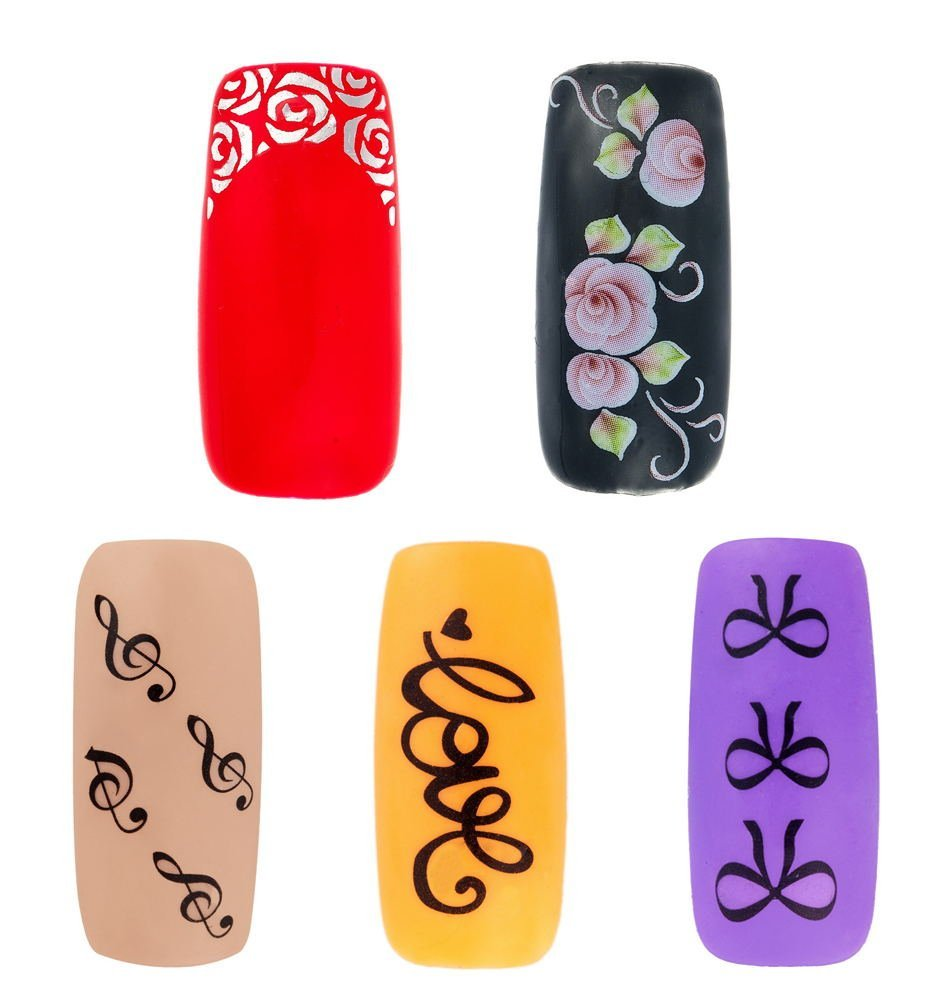 Cheap professional nail stickers find professional nail stickers get quotations professional best quality nail art decorations set kit of nails stickers decals with 5 different designs prinsesfo Choice Image