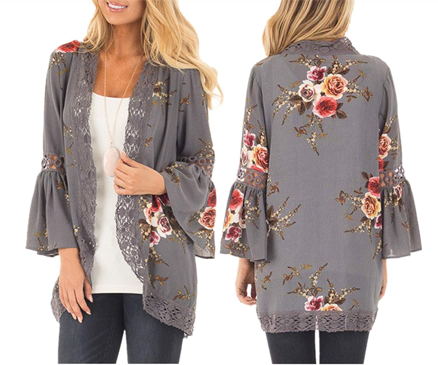 Womens Floral Kimono Open Front Lacework Cardigan Blouse Summer Casual Crochet Cover up Shirt