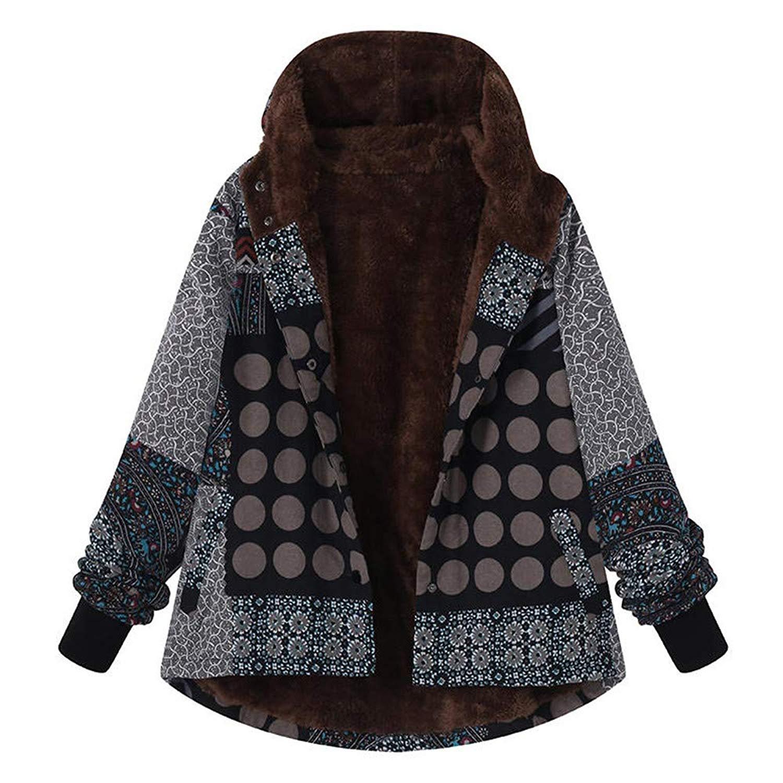 Amiley Parkas Women Winter,Women Loose Retro Warm Faux Fur Oversize Button Coat Parka Outdoor Jacket Coat
