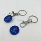 Custom Design Cheap Plastic Shopping Cart Trolley Coin holder Keychain