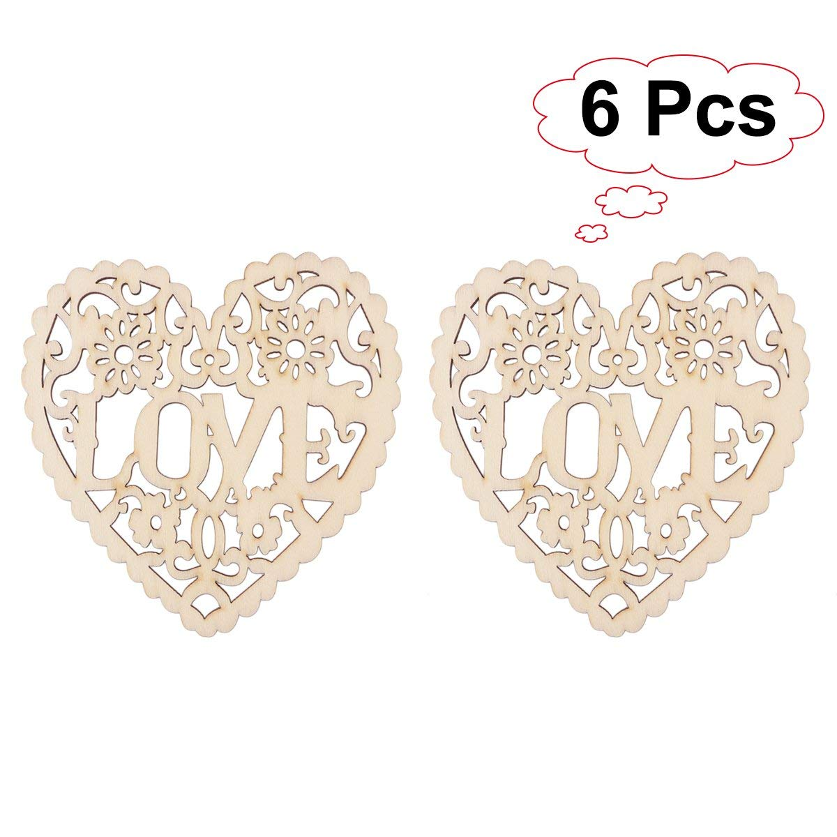 LUOEM 6PCS Wooden Crafts Embellishment Hollow Heart Cutout Veneers Slices For DIY Crafting Christmas Tree Hanging Ornament Decoration Pendants With String