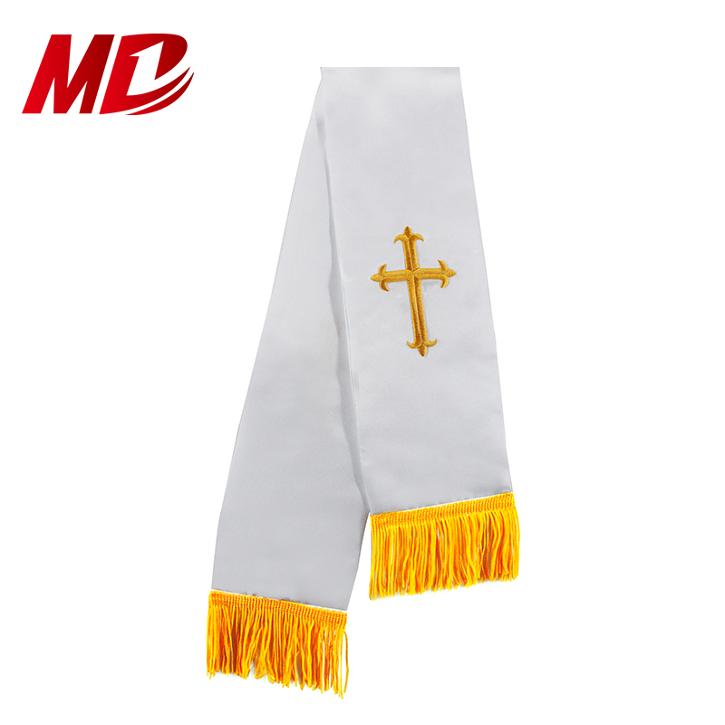 Maroon and White Church Tassel Stole Reversible Clergy Stole with Embroidery Cross