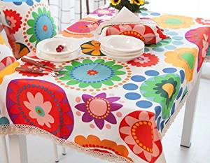 Cotton thick printed tablecloth , 140*220cm