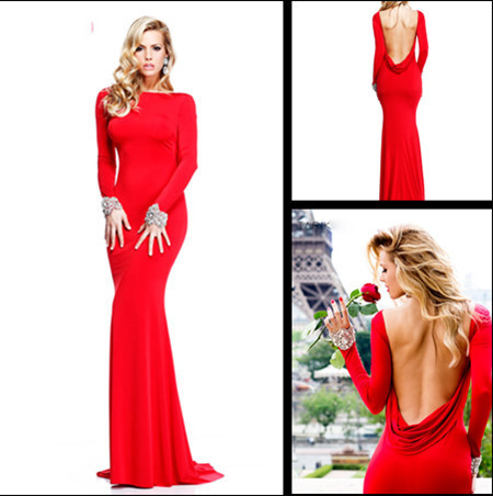 5eb6ec15078 40 Prettiest New Years Eve 2014 Dresses. 2016 cheap sexy new red long  sleeves jersey mermaid prom dresses backless beaded evening gowns floor
