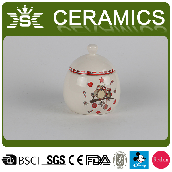 2017Wholesale Christmas Owl Ceramic Jar