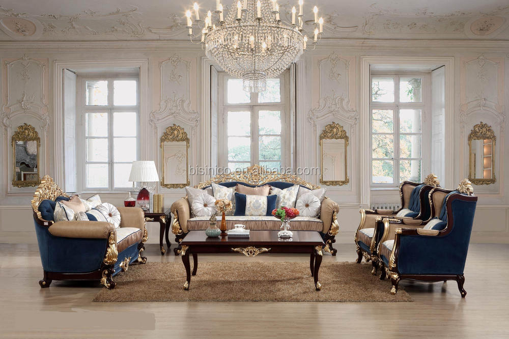 Luxury Living Room Furniture Antique French Style Sofa Sets Classic European
