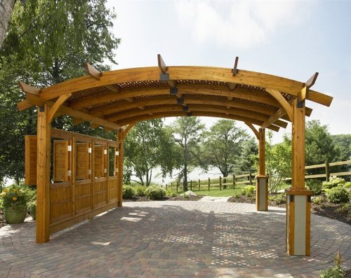 Sonoma Arched Wood Pergola 16x17 Redwood - Cheap Wood Pergola Kits, Find Wood Pergola Kits Deals On Line At