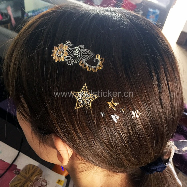 New Fashion Shiny Star Gold And Silver Temporary Hair Tattoos ...