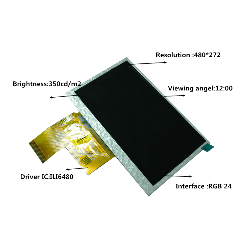 Topfoison OEM 4.3 inch 480*272 tft lcd touch screen