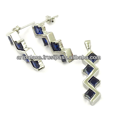Best Silver Jewelry Supply Abalone Blue cubic zirconia Pendant Set
