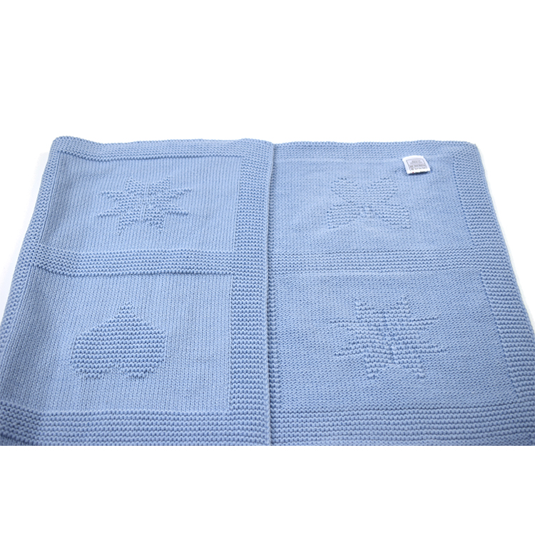 Free Sample Popular Custom Soft Child Nursery Baby Cotton Shawl Knitted Blanket