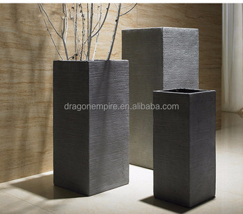 Garden Decoration Tall Square Textured Planters