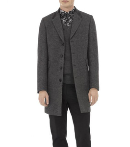 Grey Leather Collar Long Coat for men