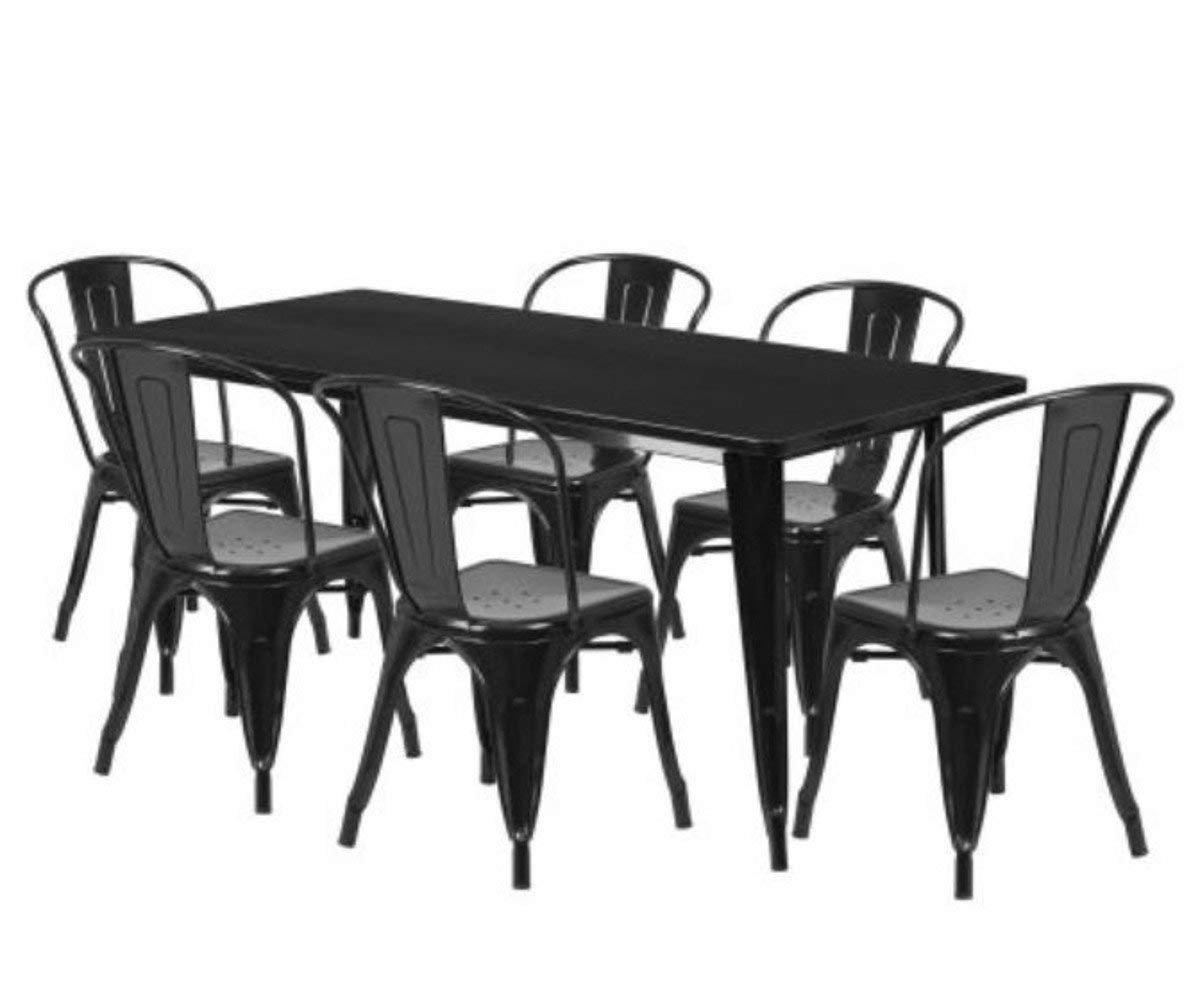 Gt Metal Outdoor Furniture Sectional Patio Bistro Set Of Seven Black Small Porch