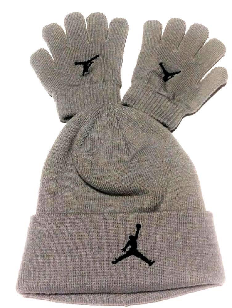92cfe357201dc7 Get Quotations · Nike Air Jordan Boys Winter Hat Beanie Cap Gloves Set  Silver 8 20