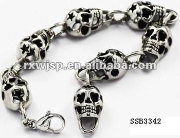 Men Chrome Ed Tattoo Slowly Love Spirit Star Skull Bracelet Buy