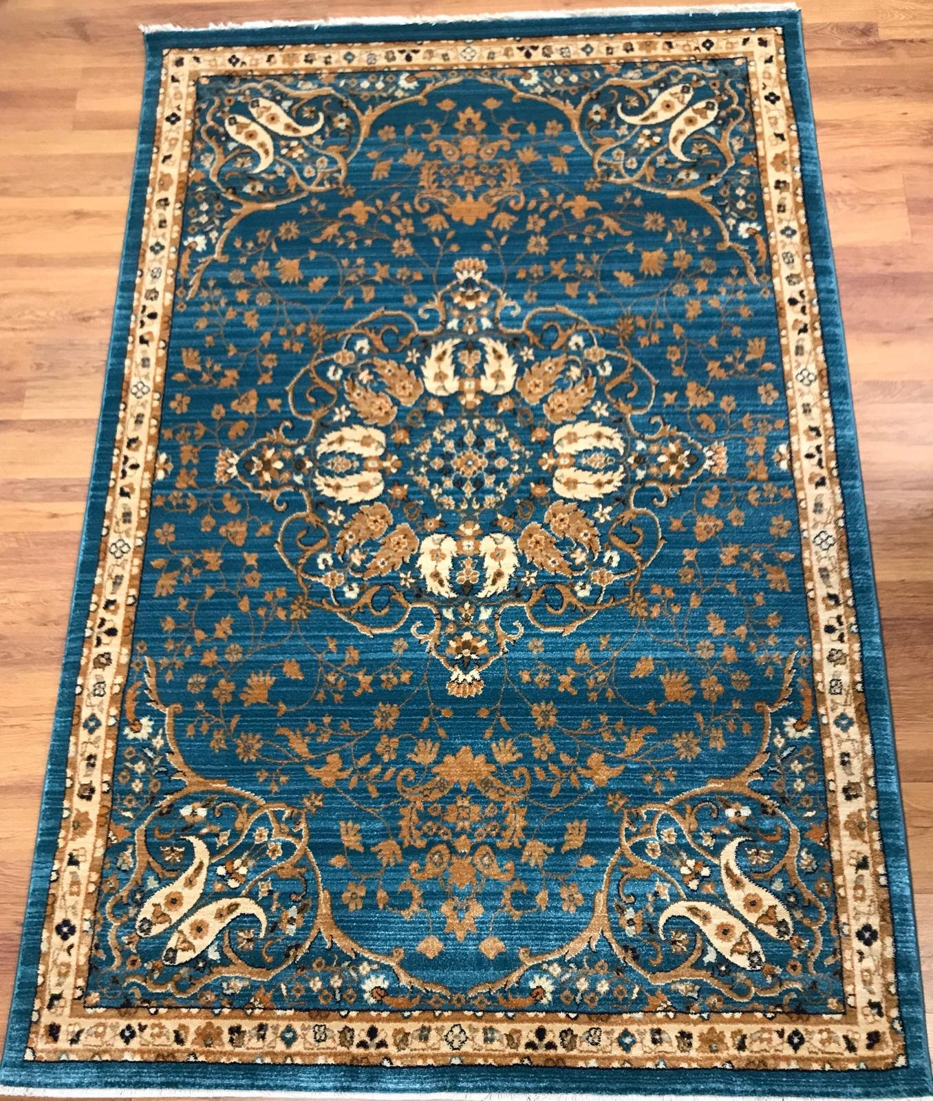 Get Quotations Antep Rugs Oriental Wave Collection Harem Polypropylene Area Rug Blue Ivory 5
