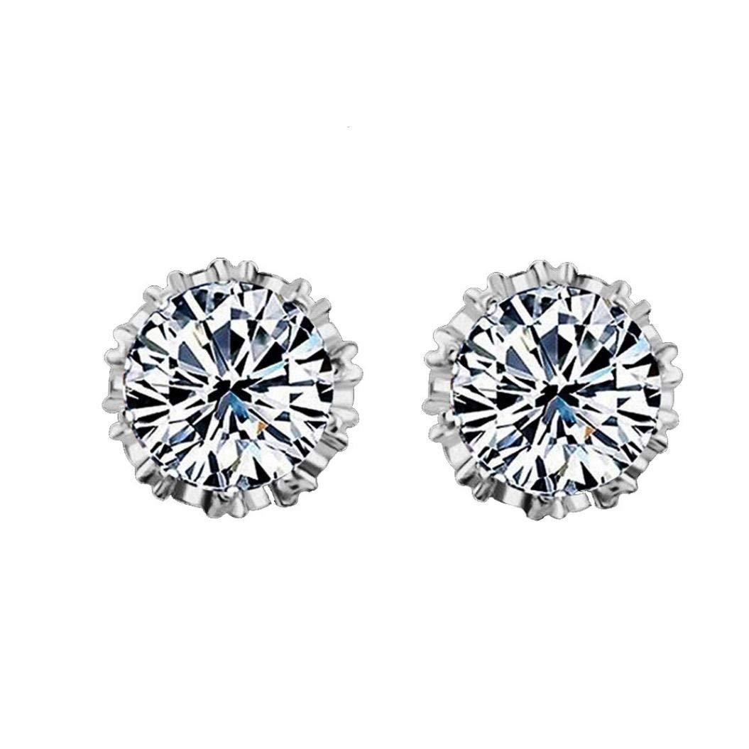 Clearance Deal! Hot Sale! Earring, Fitfulvan 2018 Simple Fashion Diamond Ear Stud Earrings Women Jewelry (White)