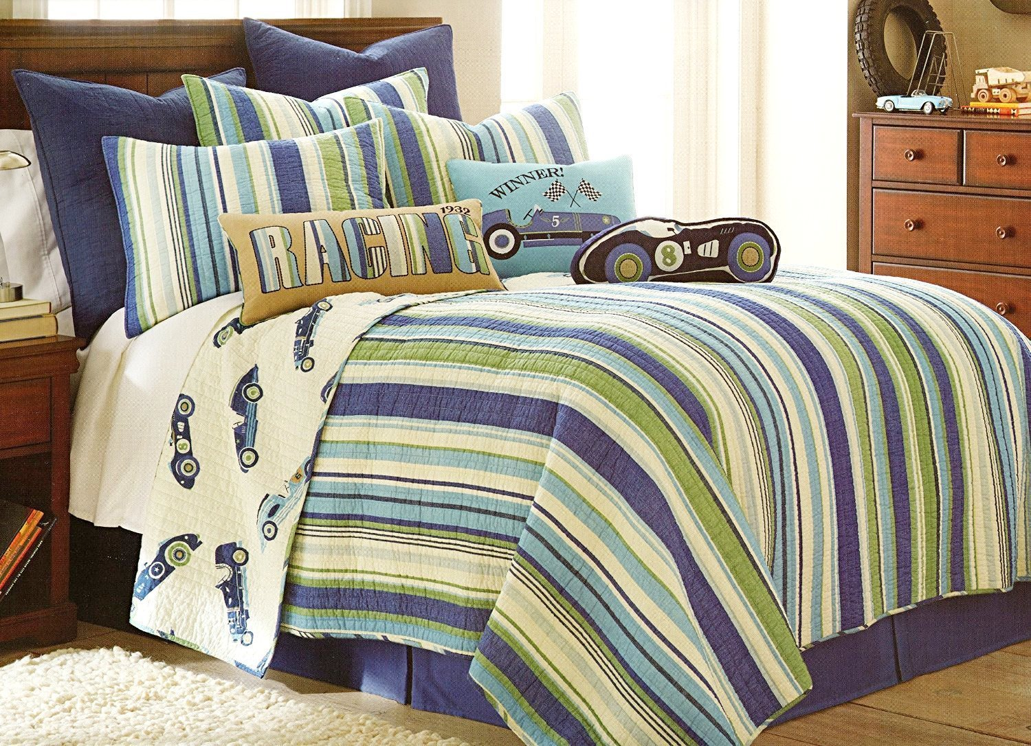 4-pc TWIN SIZE Hot Rod QUILT & SHEET SET (TWIN SIZE) - Retro Race Cars Reversible Stripes Quilted Bedding Bedspread
