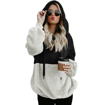 Trade Assurance Ladies Fashion Casual Hot Night Party Evening Women Furry Colorblock Hoodie