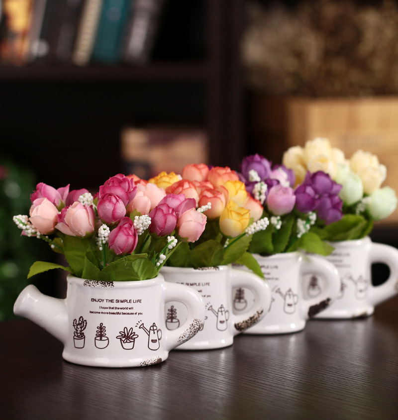 In The Spring of The Stars Bract Potted Artificial Flowers Simulation Silk Flowers Rural Green Living Room Bedroom Home Decor