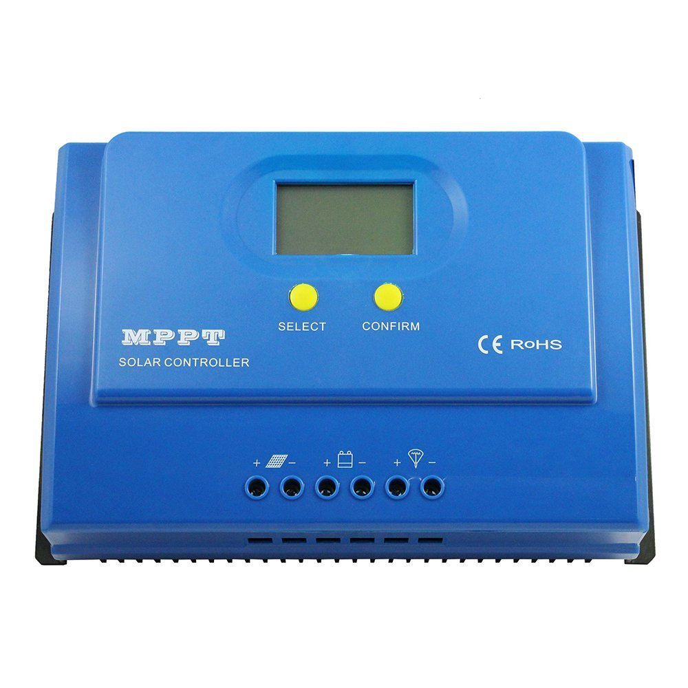Y-SOLAR MPPT Solar Charge Controller LCD Display 20A 30A 40A 50A DC12V/24V Automatic Recognition Solar Regulator With 5V 3A USB (40A)