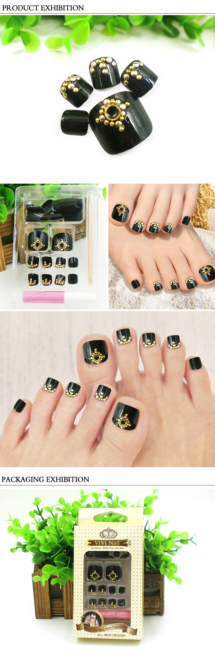 New Style Fake Nails With Glue Metallic Decoration Toe Nail Toe Tip ...