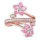 Fashion Jewelry Pink Flower Ring Rose Gold Plated AAA Halo Zircon Brass Promise Jewelry