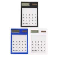 Mini Calculator Ultra Slim Solar Power Touch Screen LCD 8 Digit Credit Card Electronic Transparent Calculator Black White Blue