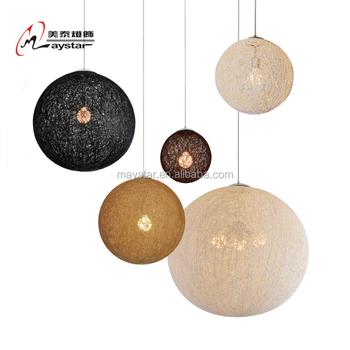 Round Ball Hemp Rope Hanging Light Rattan Pendant Lamp For Home Indoor