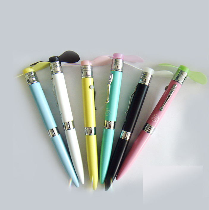 electric hand fan. custom multi-function electronic fun pen,mini electric hand fan with metal ballpoint pen