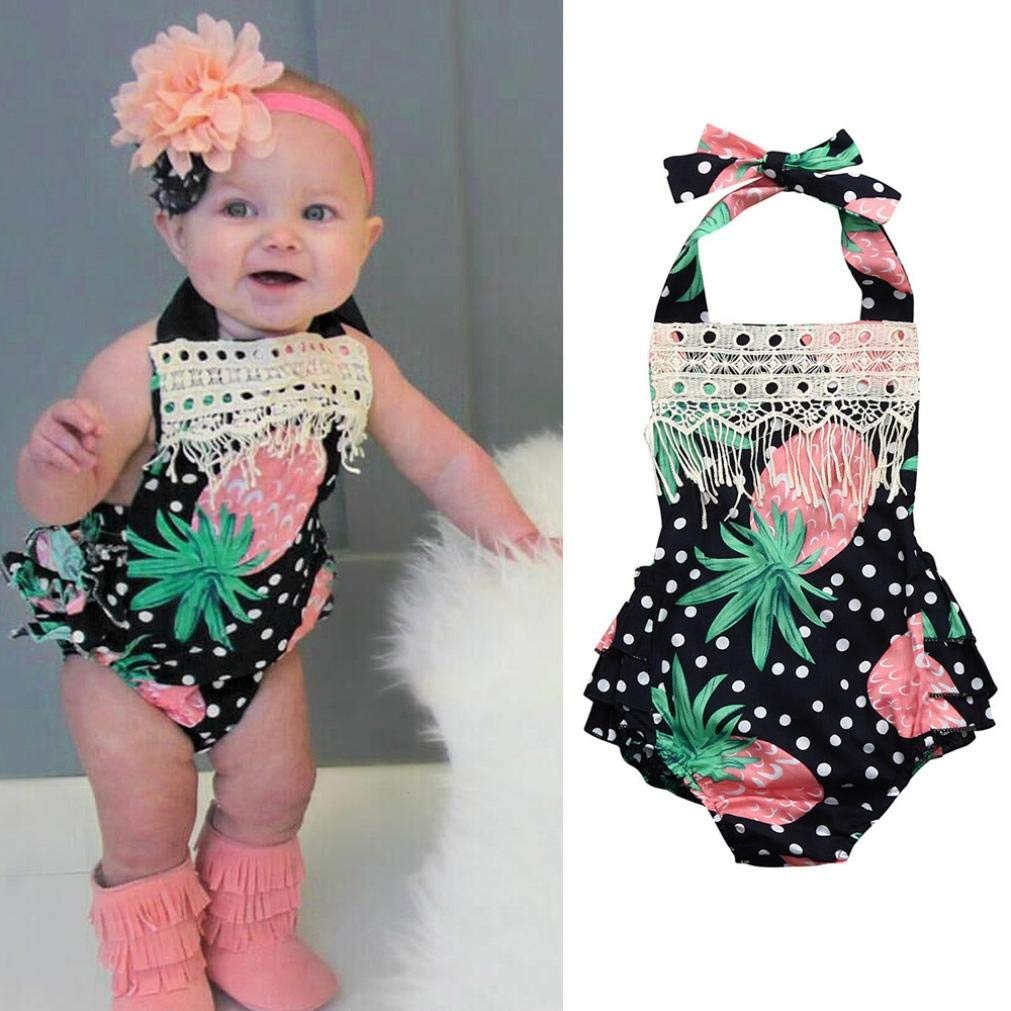 Summer Baby Girls Infant Toddler Romper Jumpsuit Outfit Clothes Cuekondy Pineapple Tassel Sleeveless Playsuit 6-24 Months
