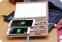 Business Notebook with 6000 mah Power Bank 8G USB PU Leather Notebook High Quality Writing Pad Business Gift Office Supply