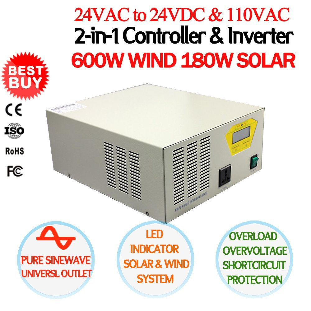 NEW 600W 24V-110V 2-in-1 Controller & Inverter Device, MPPT Charge Controller & Pure Sine Wave Power Inverter, For 600W AC Wind Turbine & 180W DC Solar Panels, Universal Outlet, CE Certified