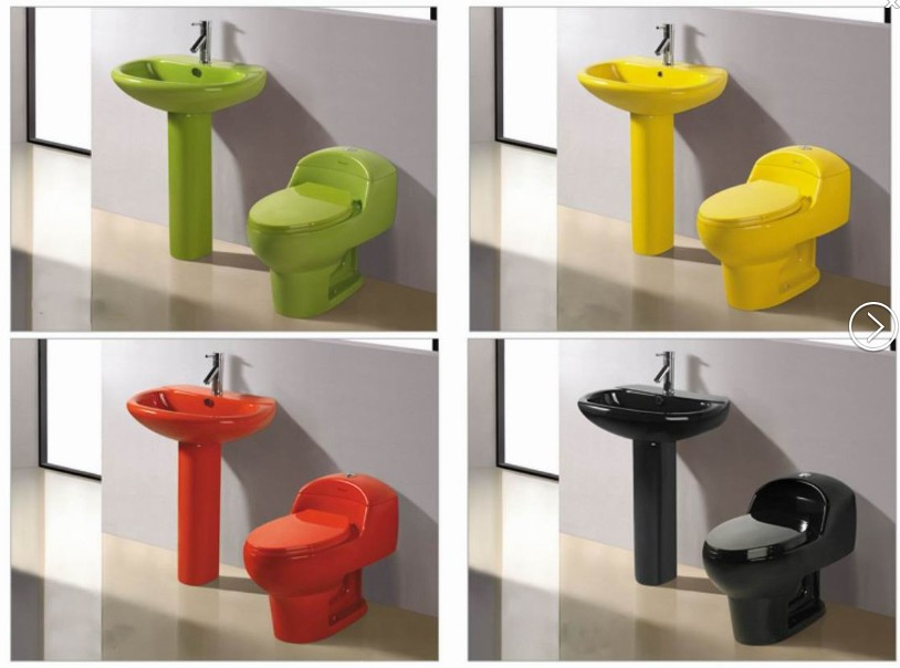 Latest Design Colored One Piece Toilet,Western Toilet
