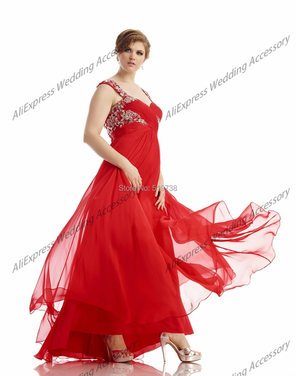 4a06216d1b5 Get Quotations · Elegant Sweetheart Chiffon Empire Waist Floor Length with  Beaded Lace Applique Plus Size Rhinestone Dress