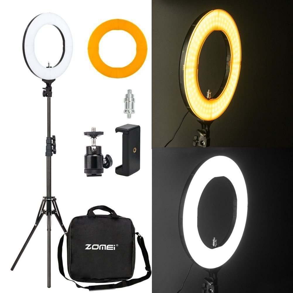 """Zomei 14"""" LED Ring Light with Light Stand- 41W 5500K Dimmable Lighting Kit with Phone Adapter for Smartphone for Youtube Video, Makeup, Portrait"""