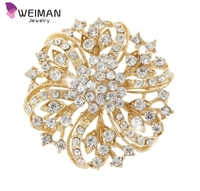 Clear Austrian Crystal Gold-tone Flower Bouquet Brooch