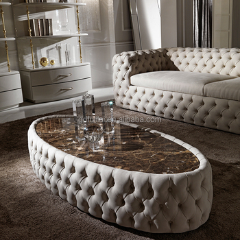 Contemporary Italian Leather Tuffed Marble Coffee Table View
