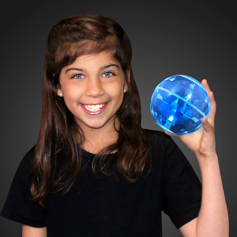 "4"" Big Blue Bounce Ball with Flashing LEDs (Set of 6)"