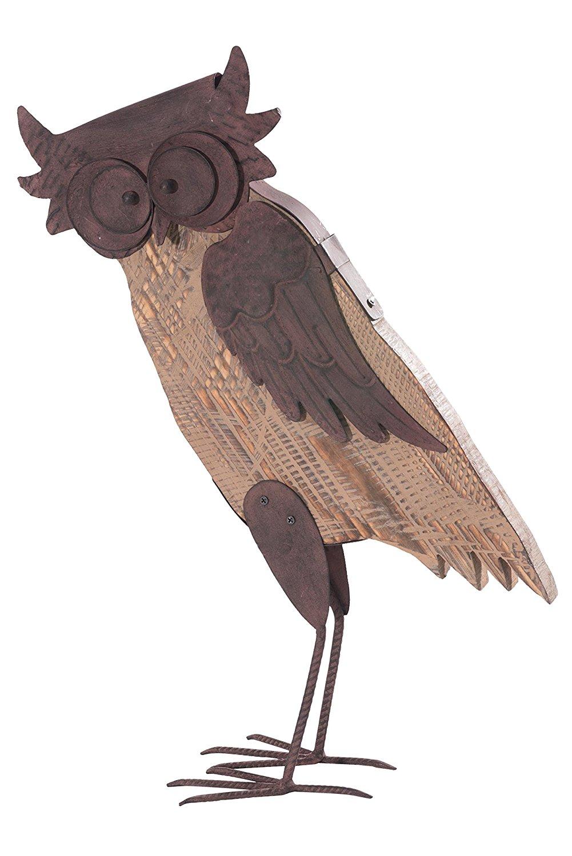 Get Quotations · Sunjoy 110301014 Barn Wood Rustic Owl Wood And Metal  Garden Sculpture, Brown