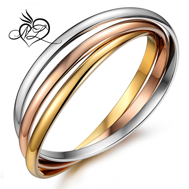 316L Stainless Steel Tri Color Fashion Bangle