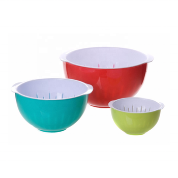 Double Deck Kitchen Vegetable Fruit Wash Bowl Strainer Plastic Colander With Bowl