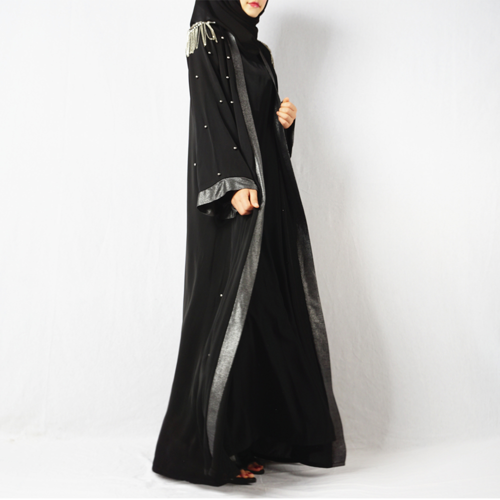 2018 Luxury bell sleeve shoulder pad front opening black new model abaya in dubai kimono with beading pearls