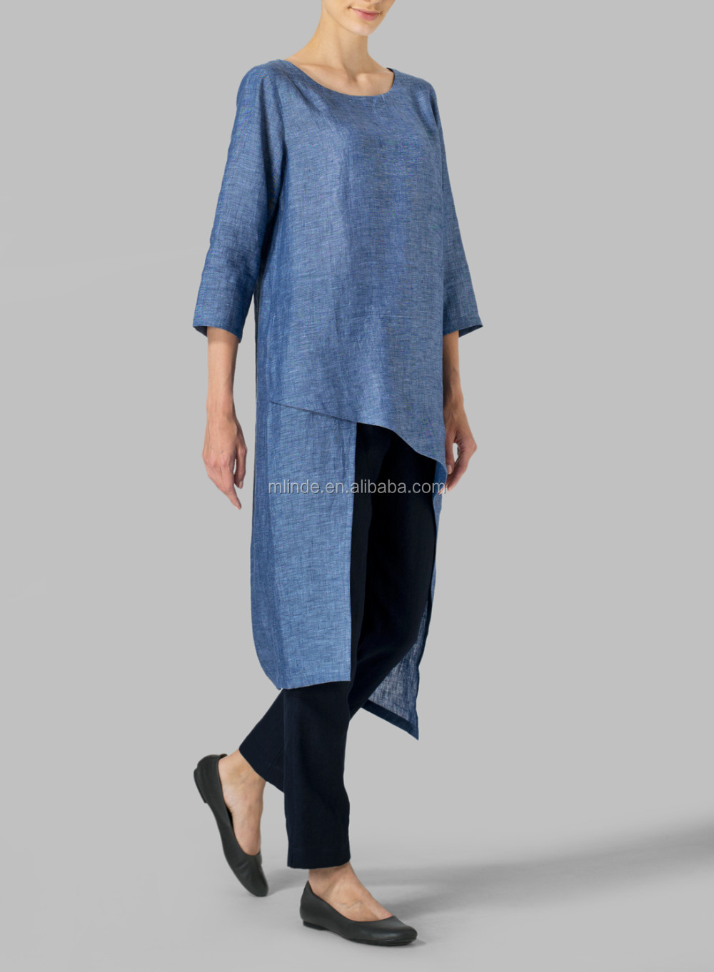 Perfect Hot Sales Fashion Women Linen Asymmetrical Tunic,Indian Style  SN36