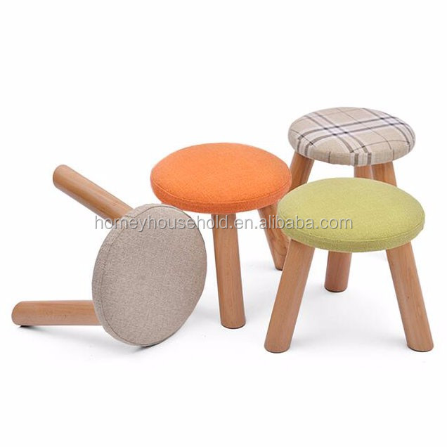 Bathroom Toilet Stool Fabric Pouf Ottoman Footstool