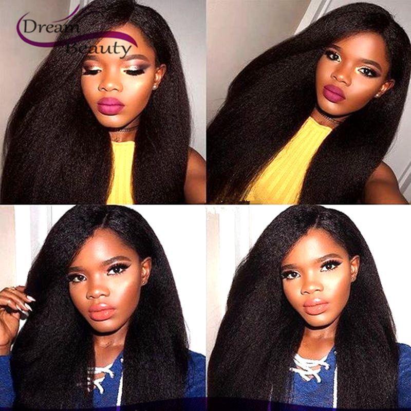 Dream Beauty Unprocessed Brazilian Virgin Human Hair Full Lace Wigs Kinky Straight Glueless Lace Front Wig
