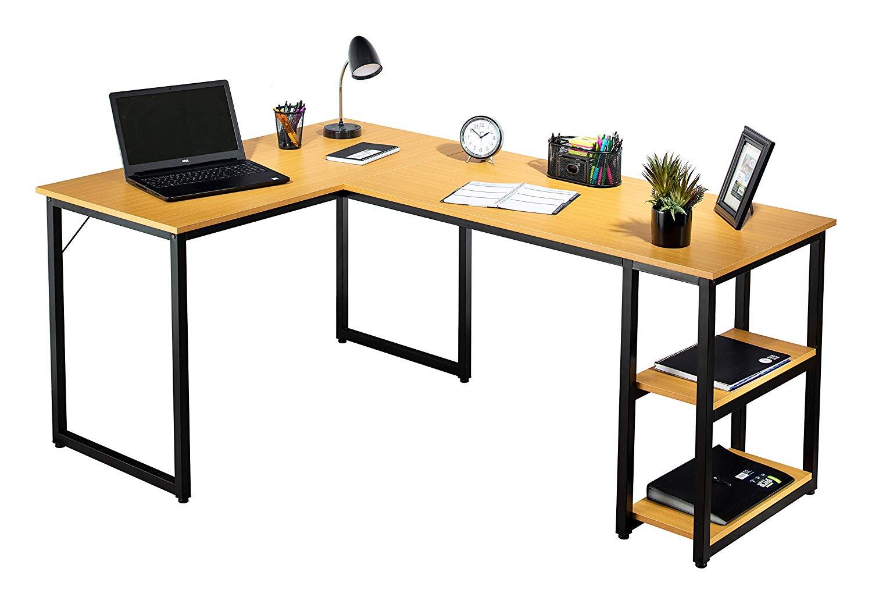 Fineboard FB-LD14-BGBK Office L Shaped Desk Corner Computer Table with 2 Shelves, Beige/Black